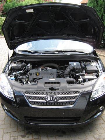 Kia Ceed Frontansicht mit geöffneter Motorhaube nach Einbau einer LPG-Autogas Anlage