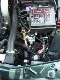 Saab 9000 2.3 turbo Motorraum nach Einbau einer LPG-Autogas Anlage