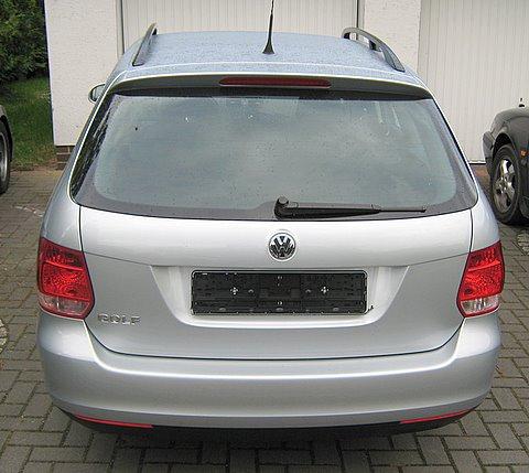 Volkswagen VW Golf Variant Heckansicht nach Einbau einer LPG-Autogas Anlage